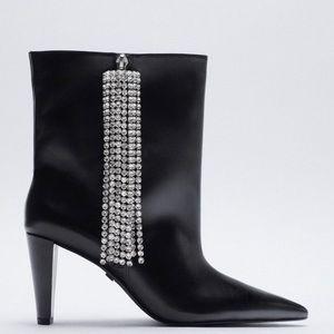 Zara sparkly fringe black Leather boots Nwt 7.5